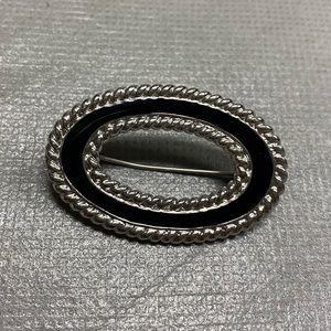 Monet Black Enamel Silver Tone Oval Brooch